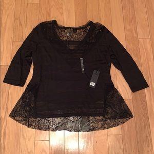 BKE Boutique Burnout Three Quarter Sleeve T-Shirt
